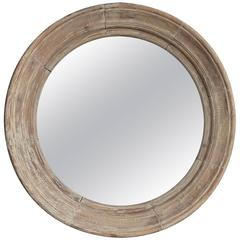 French Large Scale Cerused Pine Round Mirror