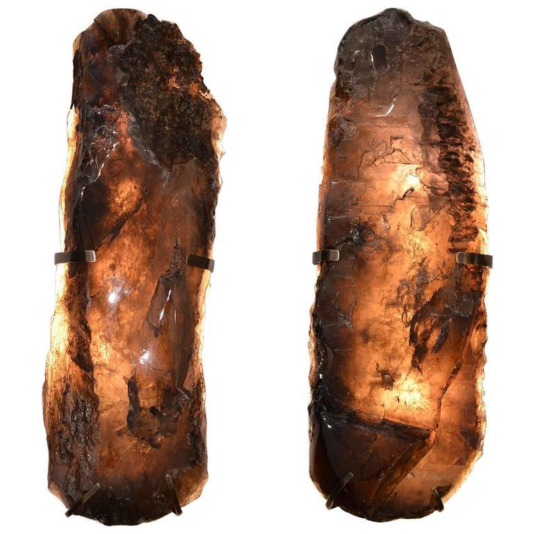 Pair of Natural Form Smoky Brown Rock Crystal Quartz Sconces 1