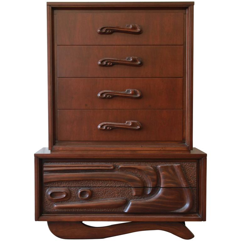 Mid Century Sculptural Tiki Highboy Dresser By Pulaski For Sale At