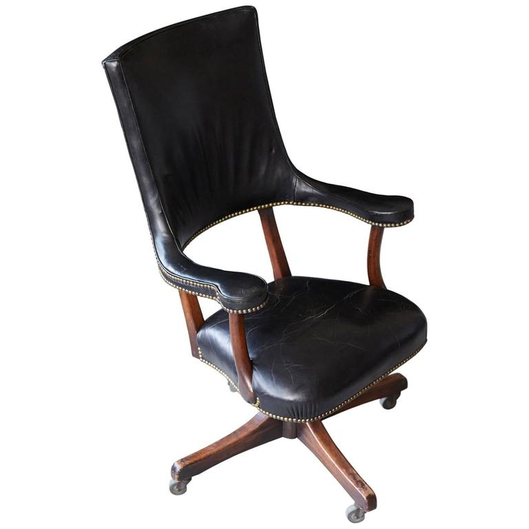 Yale Burge High Back Leather and Walnut 'Banker's' Chair  For Sale