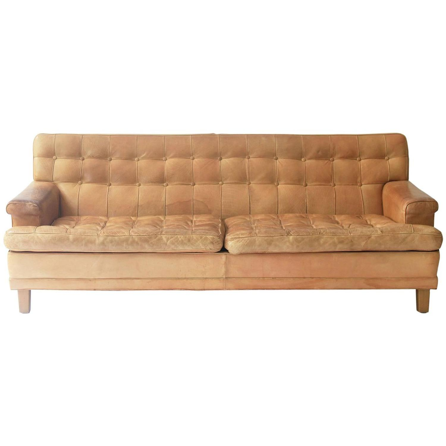Of four chairs in oak and patinated cognac leather for sale at 1stdibs - Arne Norell Merkur Sofa In Cognac Leather By Norell Ab In Sweden For Sale At 1stdibs