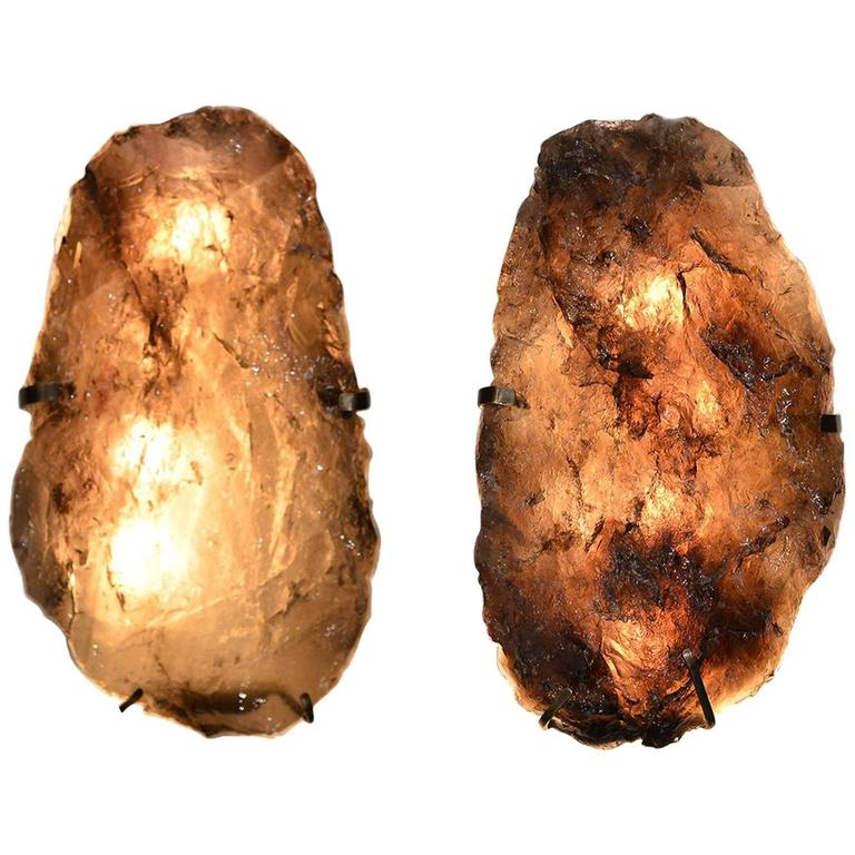 Pair of Natural Form Smoky Brown Rock Crystal Sconces 1