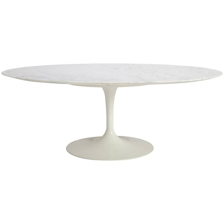 Saarinen Oval Tulip Coffee Table In Gloss Carrara Marble At 1stdibs