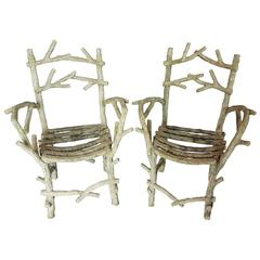 Pair of Exceptional Rare Form Large Antique Faux Bois Armchairs
