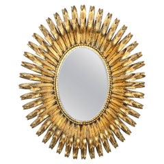 Italian Gilt Metal Oval Mirror by S. Salvadori