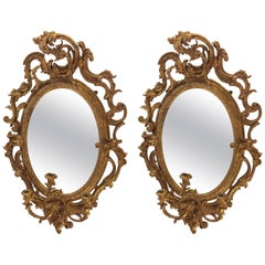 19th Century Pair of French Gilt and Gesso Wall Mirror Sconce