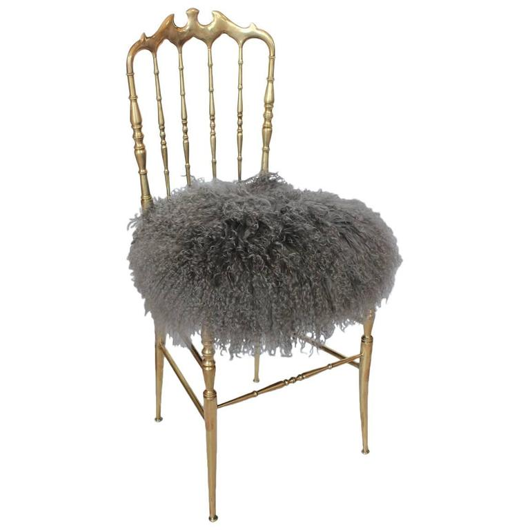 Stylish Italian Brass Accent Chair by Chiavari