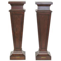 Pair Ethan Allen Walnut Pedestals