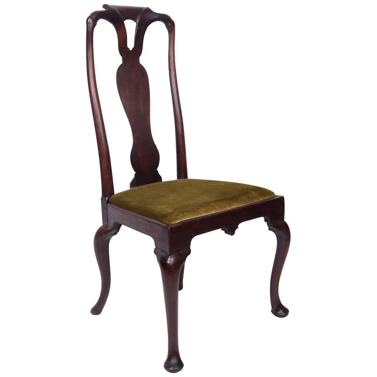 Early 18th Century Queen Anne Walnut Side Chair In Olive Velvet For