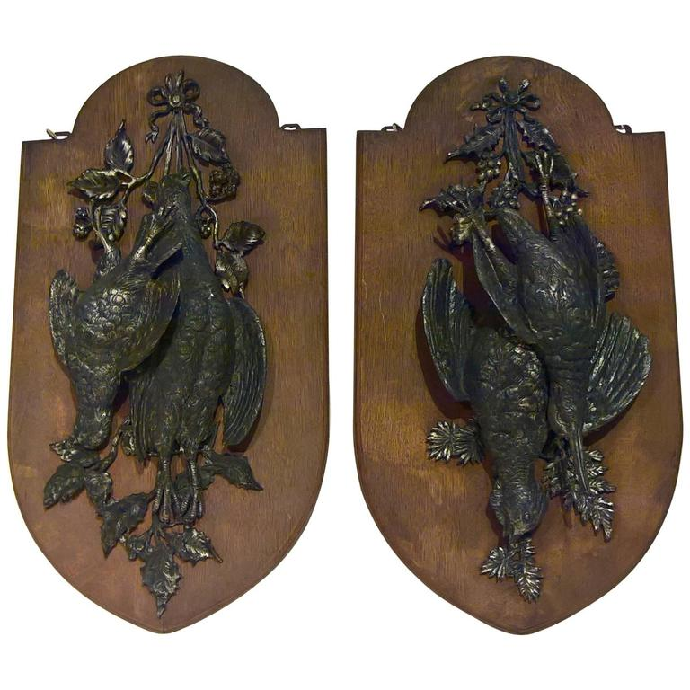 19th Century Black Forest Pair of Wood Plaques with Birds in Cast Iron Germany