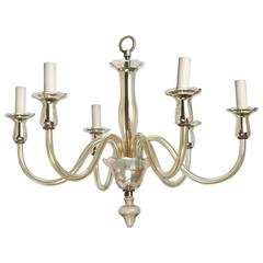 Six-Arm Pale Amber Murano Glass Chandelier