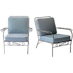 Pair of Swedish Iron-Framed Garden Chairs