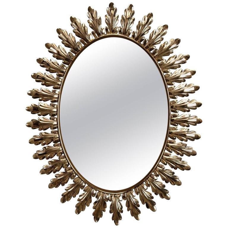 Mid-Century Italian Oval Starburst Mirror with Acanthus Leaves