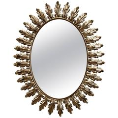 Mid-Century Italian Oval Starburst Mirror with Acanthus Leaves