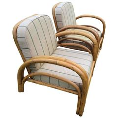 Pair of Paul Frankl Style Rattan Lounge Chairs