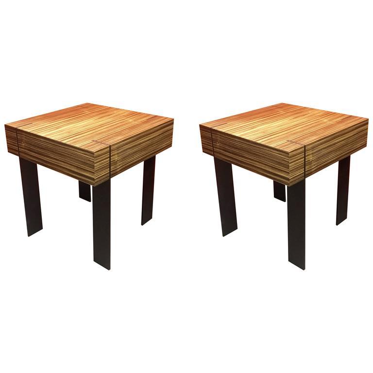 pair of zebra wood and raw steel end or bedside tablesantoine