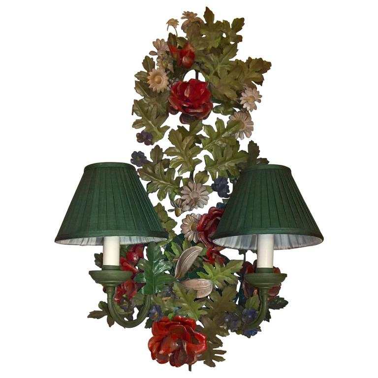 19th Century Black Forest Metal Flower Bouquet Wall Lamp For Sale at 1stdibs