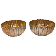 German Koch and Bergfeld Art Deco Pair of Silver Bowls Inside Gilded