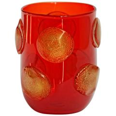 Striking Tumblers Gold Leaf Applications Petoni, Crucible Red, Cenedese Style