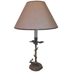 Mid-Century French Provincial Metal Table Lamp with Deer Figure