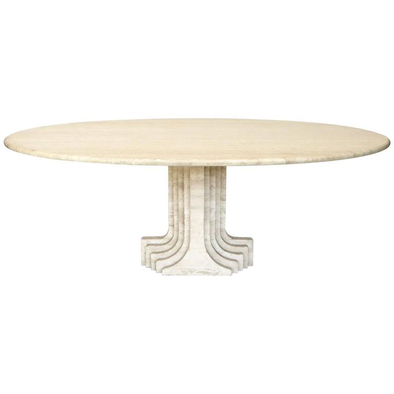 "Italian Travertine Oval Top ""Samo"" Fluted Carved Base Dining Table Carlo Scarpa 1"