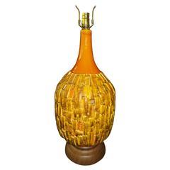 Fabulous Large-Scale Textured Brutalist Glazed Lamp, Mid-Century Modern