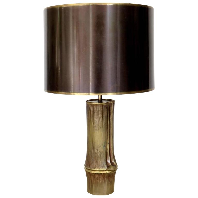 French Bronze Table Lamp by Maison Charles Model Bambou 1