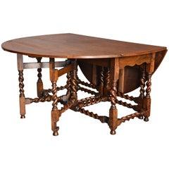 Large Late 19th Century Oak Double Gate Gateleg Table
