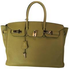 Hermes Birkin 35 Sauge Clemence Hand Bag, 2007