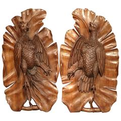 Pair of Early 20th Century French Black Forest Carved Walnut Pheasant Trophies