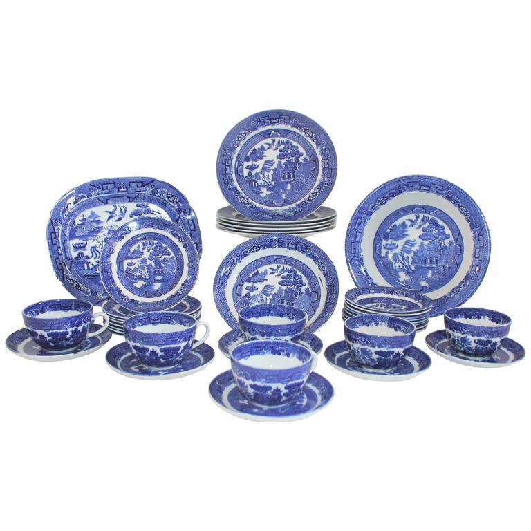 19th Century 37 Piece Allerton's Blue Willow Serving Set