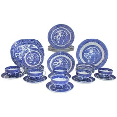 19th Century 37 Piece Allerton's Blue Willow Serving Set