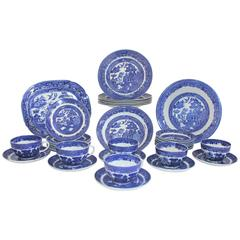 19th Century 38 Piece Allerton's Blue Willow Serving Set