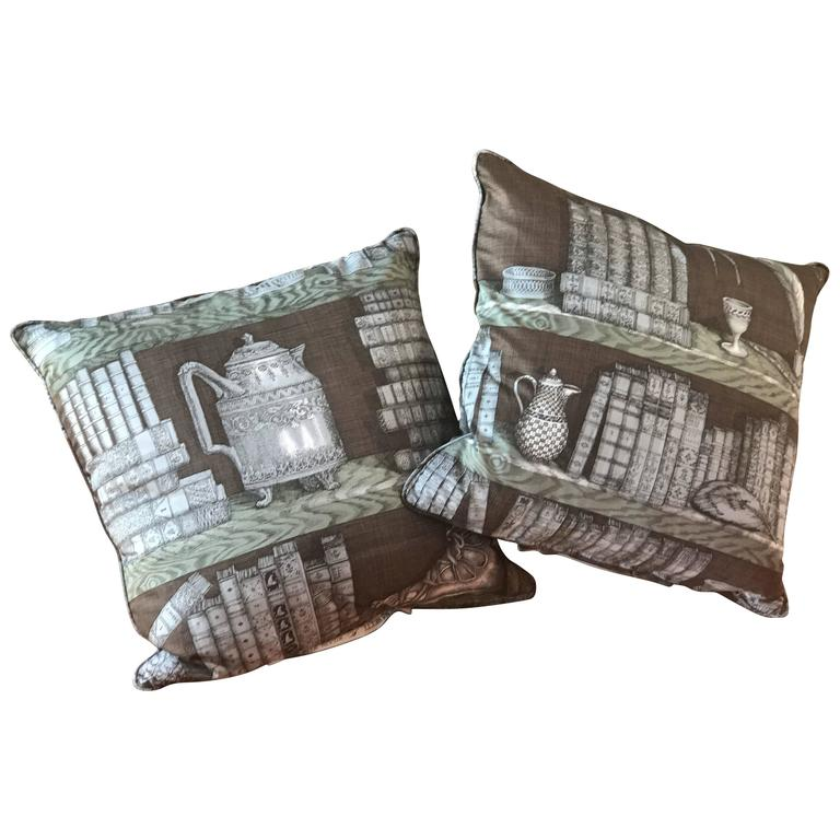 Pair of Piero Fornasetti Pillows, 1950s 1