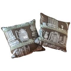 Pair of Piero Fornasetti Pillows, 1950s