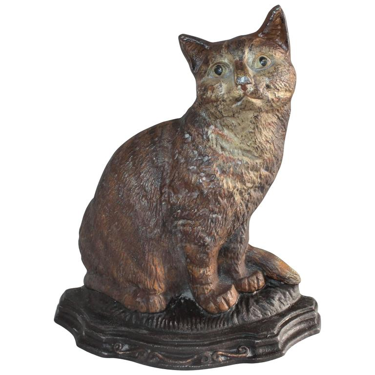 Painted Cast Iron Cat Door Stop At 1stdibs
