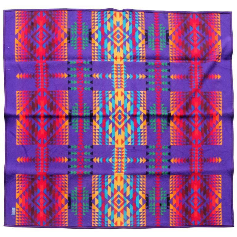 Amazing Colorful Vintage Pendleton Indian Design Camp Blanket For Sale