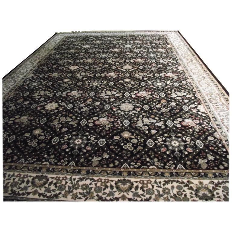 Black Oriental Rug Belgium 100 Worsted Wool For