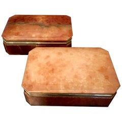 Pair of Italian Alabaster Boxes with Brass Trim