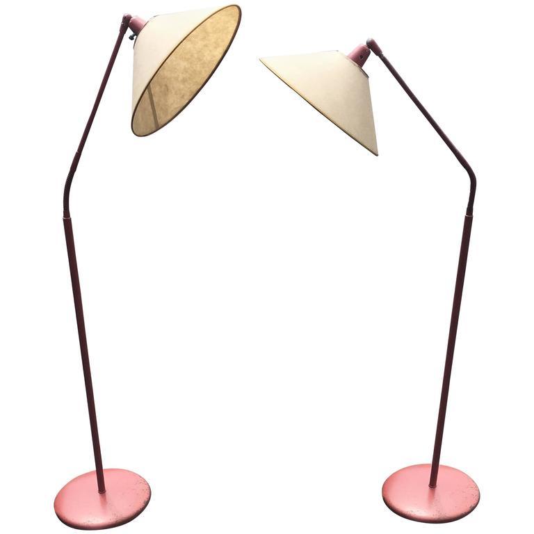 Two Kurt Versen Gooseneck Floor Lamps with Original Shades