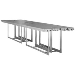 Tempo Dining Table, Contemporary Stainless Steel Rectangular Dining Table