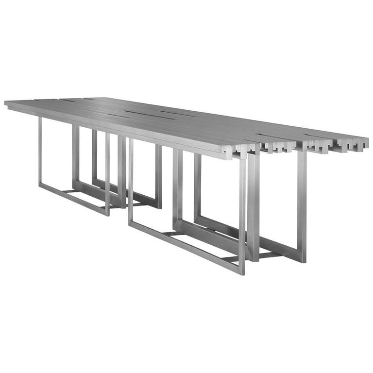 Tempo Dining Table, Contemporary Stainless Steel Rectangular Dining Table For Sale