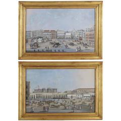 Early 19th Century Pair of Italian Gouaches Castel Nuovo & Square from Naples
