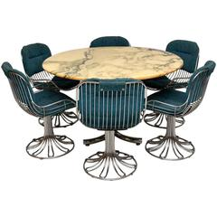 Retro Marble and Chrome Dining Table with Six Chrome Swivel Chairs, 1960s