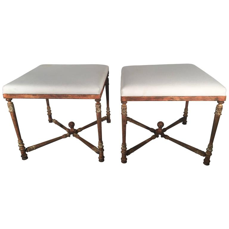 Superb Pair of Large French Napoleon III Cast Iron Stools