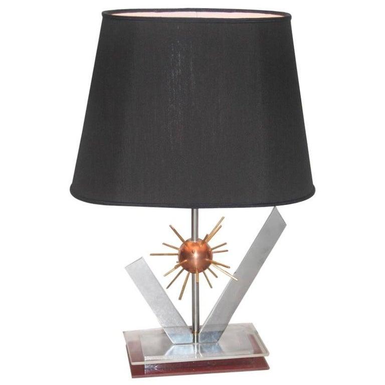 Sputnik Sculptural Table Lamp, 1970s Copper steel brass and plexiglass Italian For Sale