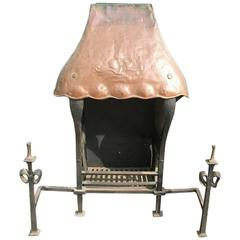 Hand-Forged Iron and Copper Fireplace in the Style of Baillie Scott