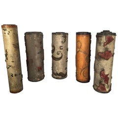 Seven French Art Deco Wooden Wallpaper Roller Lamp Bases