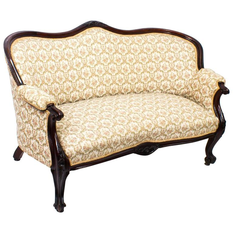 Victorian Couch: Antique Victorian Mahogany Two-Seat Settee Sofa, Circa