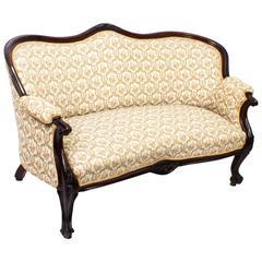 19th Century Victorian Mahogany Two-Seat Settee Sofa